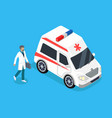 paramedic with medicine kit and ambulance car vector image vector image