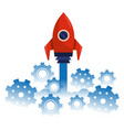 rocket taking off cartoon vector image