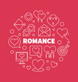 romance outline round on red vector image vector image