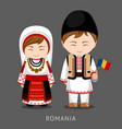 romanians in national dress with a flag vector image vector image