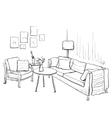 Room interior sketch Hand drawn sofa and vector image vector image