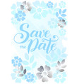 save the date in blue on background decorated with vector image