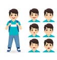 school asian boy emotions vector image vector image