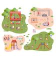 set children at modern kindergarten slides vector image