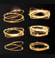 set golden glowing shiny circle light effect vector image vector image