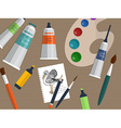 Set of drawing and painting tools on the table vector image vector image