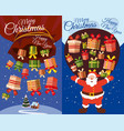 set of postcards santa claus flying with presents vector image vector image