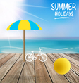 Summer holiday background with wood terrace vector image vector image