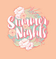 summer nights typography banner round design vector image
