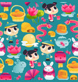 super cute mid autumn festival seamless pattern vector image vector image