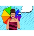 Surprised pop art pretty woman with an umbrella vector image vector image