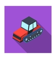 Tracked tractor icon in flat style isolated on vector image