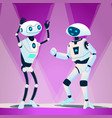 two robots dancing at disco isolated vector image