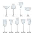 types of wine and glasses description set of vector image
