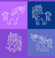unicorn white sketch set on the purple blue vector image