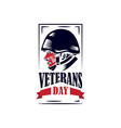 veterans day with head army and american flag vector image vector image