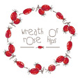 Watercolor wreath of rose hips