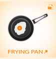 fried egg on a frying pan isolated on a background vector image