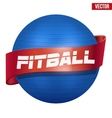 Label of Classic blue Fitball with ribbon vector image