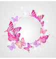 Abstract round banner with butterflie vector image vector image