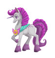 beautiful magic horse with long purple hail vector image vector image