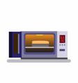 bread in oven opened oven machine in flat vector image vector image