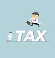 businessman skipping taxes with spring vector image vector image