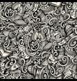 cartoon doodles winter season trace seamless vector image vector image