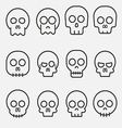 Cartoon skull icon set vector image vector image