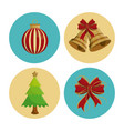 christmas round icons vector image vector image