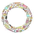 circular doodle of manicure vector image vector image