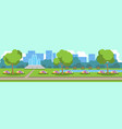 city park view green lawn flowers fountain trees vector image