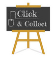 click and collect message blackboard on a wooden vector image vector image