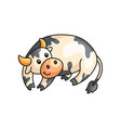 close up view of funny smiling calm spotted cow vector image vector image