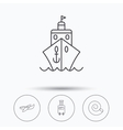 Cruise airplane and suitcase icons vector image