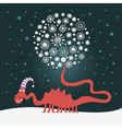 cute dragon christmas card vector image