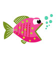 cute fish mouth opened with bubbles vector image vector image