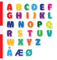 cute funny childish danish alphabet font vector image