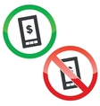 Dollar screen permission signs set vector image vector image
