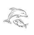 dolphin and fish black and white vector image vector image