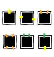doodle polaroid black blank photo set mockup vector image vector image