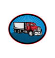 dump truck with sunburst vector image
