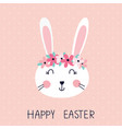 easter with cute rabbit vector image vector image