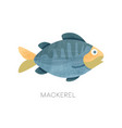 flat icon of blue mackerel with texture vector image vector image
