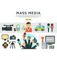 flat mass media elements set vector image vector image