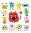 funny cartoon monster cute alien character vector image vector image