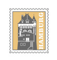 hamburg city postage stamp - port warehouse vector image vector image