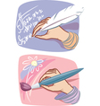 hands with feather and brush vector image