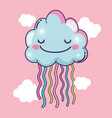 happy fluffy clouds with beauty rainbow vector image vector image
