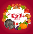 happy thanks giving round frame greeting vector image vector image
